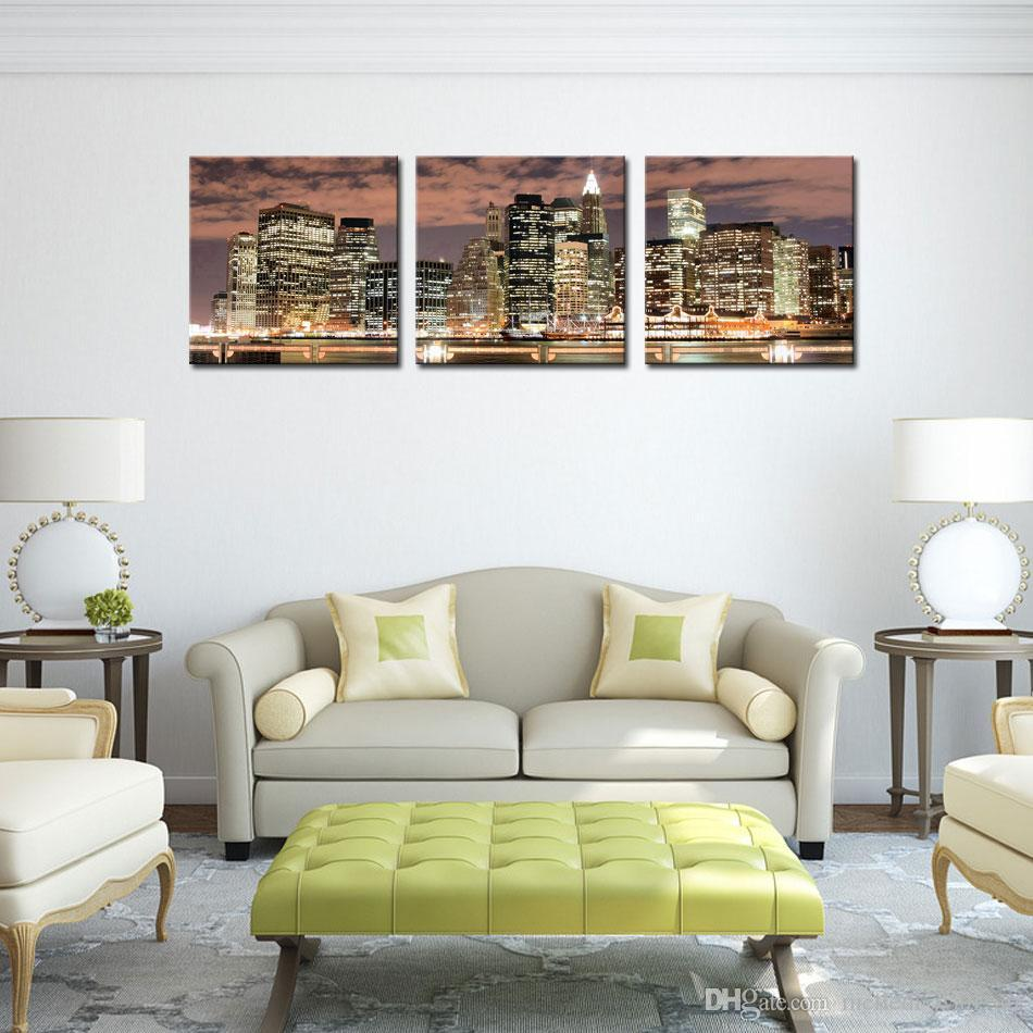 Best Quality New York City Night Canvas Print Stretched Canvas No ...