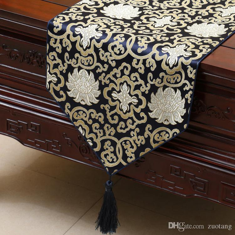 Lengthen Luxury Happy Flower Table Runner Fashion China style Silk Brocade Coffee Table Cloth High End Dining Table Mats Placemat 230x33 cm