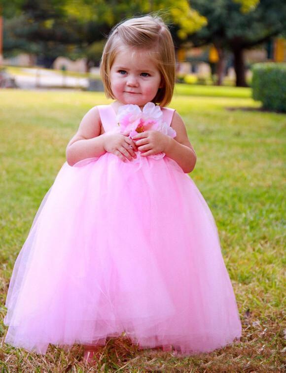 Cute Lovely Pink Flower Girls Dresses 2017 Princess Empire Waist Tulle Handmade Flower Tutu Toddler Baby Child Dress Fast Delivery