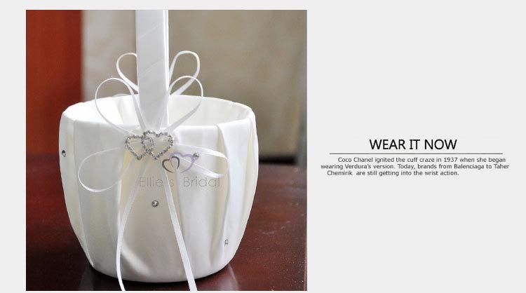 Fille de fleur panier pour la décoration de mariage fête cérémonie festival bricolage bowknot satin panier fournitures de mariage