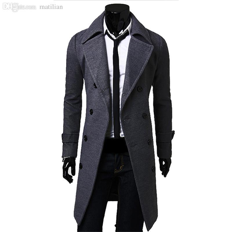 50c3406cea913 2019 Fall Men Long Peacoat Winter Down Jacket Mens Coat Male Camel Black Gray  Wool Overcoat Manteau MC056 From Matilian