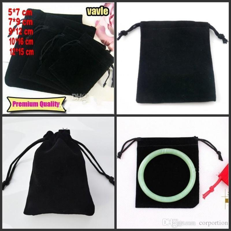 Black Jewelry Pouches Bags Velvet Drawstring Bags For Rings Necklace