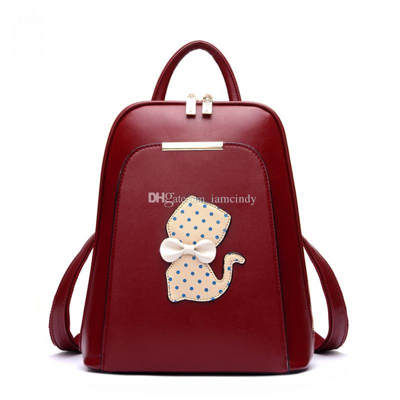 Kids Cute Kitty Backpack Boys Girls School Bags Pu Leather ...