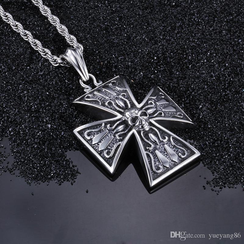 Alta qualità regalo gioielli gioielli 316L in acciaio inox Biker grande croce cranio ciondolo collana classica regalo degli uomini