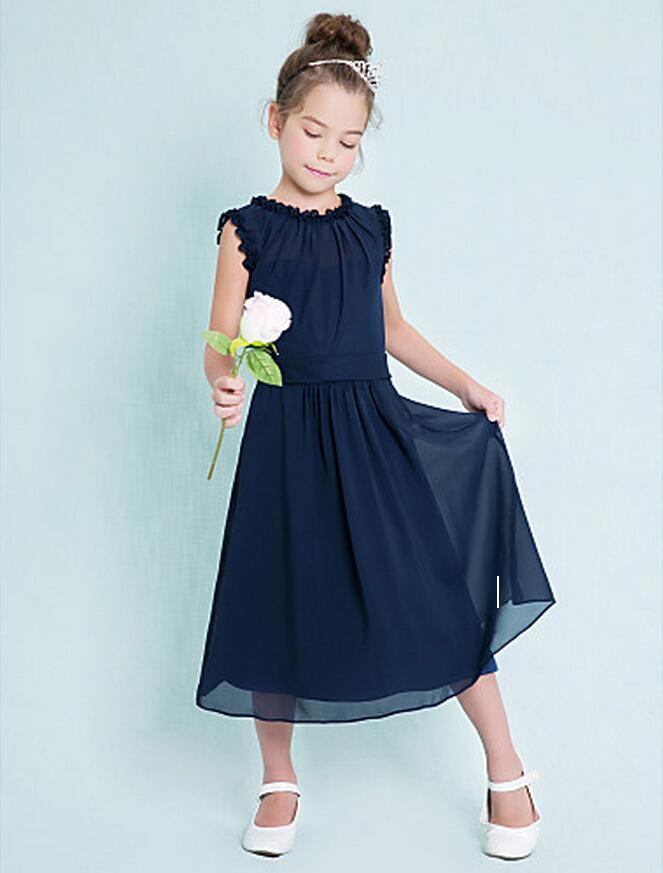 Custom Made Dark Navy Junior Bridesmaid Dresses Cheap Column Jewel Sleeveless A-Line Ruffles Zipper Back Flower Girl Dresses