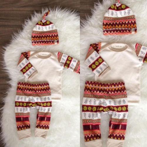 2016 Yenidoğan Bebek Kız takımları sıcak satış Sonbahar kış çocuk boy kız Giysileri uzun kollu T-shirt + Pantolon Tayt + şapka 2 ADET pamuk Kıyafetler Set