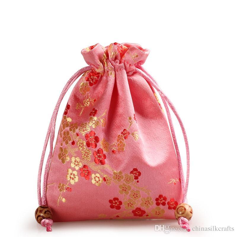 Thick Kirschblüten kleines Tuch Geschenk-Taschen Tunnelzug Verpackung Silk Brocade Schmuck Parfüm Make-up-Tools-Speicher-Beutel-Süßigkeit Tee Favor Bag