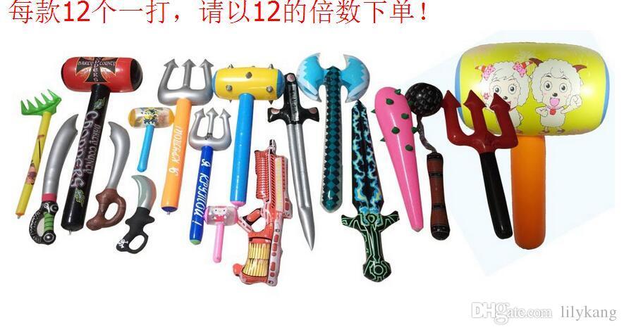 20 de style différents enfants gonflables tailles épées 25-100cm plage en plein air gonflable nager piscine couteau de jouets jouets de Noël Livraison gratuite