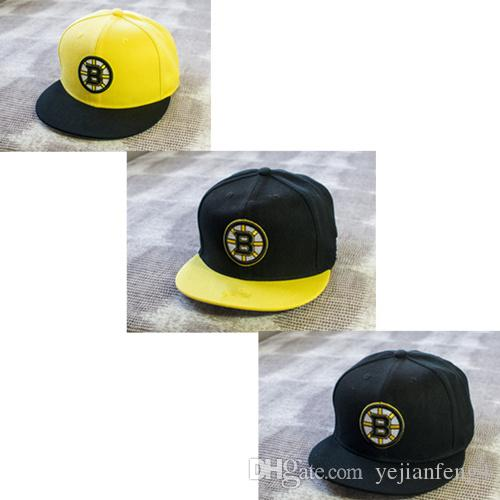 c4630d77ff4 2016 New Style Men S Boston Bruins Snapback Hats Team Logo Embroidery  Sports Adjustable Ice Hockey Caps Hip Hop Flat Visor Hatfree Shipping Snapback  Cap ...