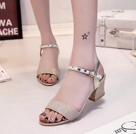 new sandals for woman 65 cm chunky heel diamond toe shoes buckle korean style sandals for girls us size 4 to 75 gold silver sandal sandal ladies