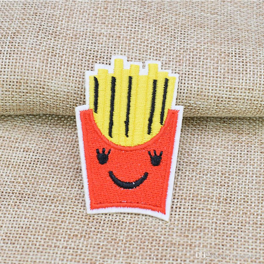 Funny Chips Embroidery Patches for Clothing Bags DIY Iron on Transfer Applique Patch for Garment Sew on Embroidery Badge