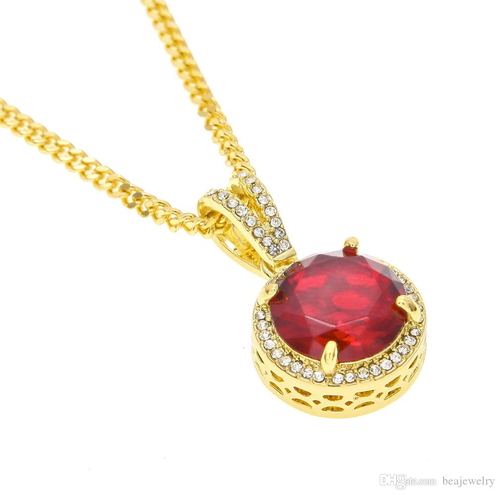 Mens Gold Plated Iced Out Red Ruby Pendant Necklace High quality Iced Out Square Style Red Fashion Jewelry