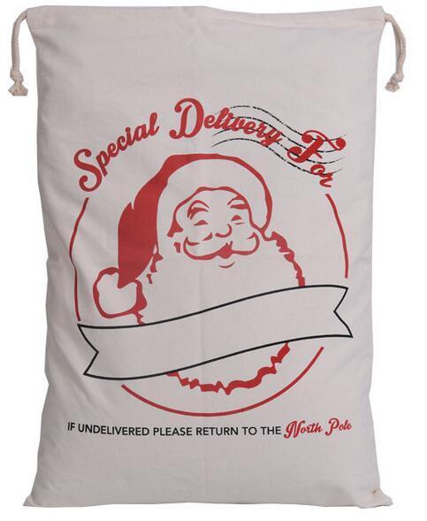 2016 Christmas Large Canvas Monogrammable Santa Claus Drawstring Bag With Reindeers Monogramable Christmas Gifts Sack Bags