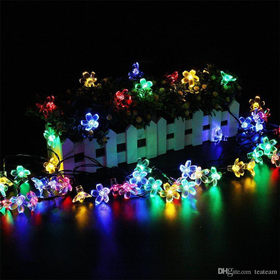 solor powered led light decoration 50led flower christmas wedding decor outdoor solar light multi colored backyard garden led string lights bulb string