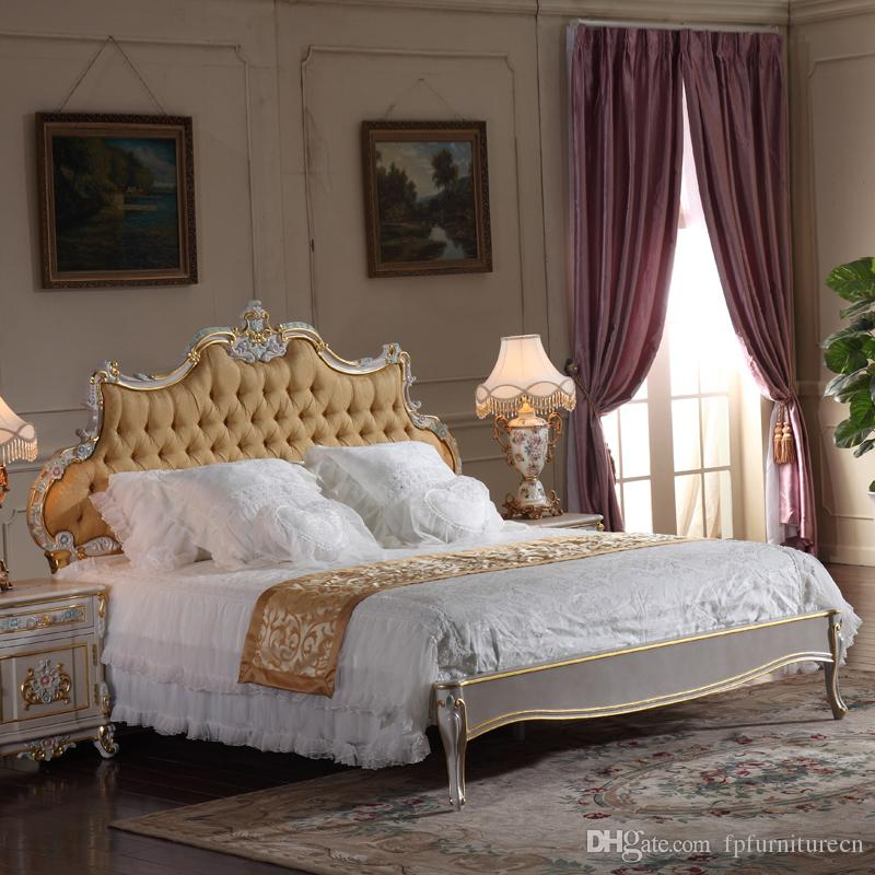 2018 French Classic Furniture Bedroom Baroque Style Queen Bed High ...