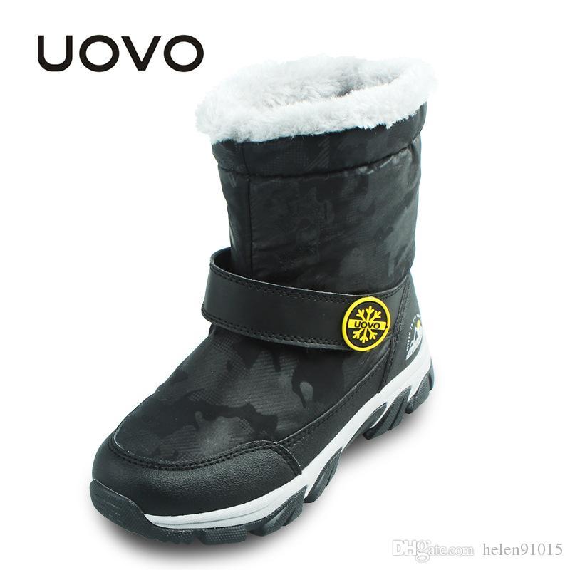 83b07fe50f8 UOVO Niños Botas de nieve Zapatos térmicos de invierno para niños Zapatos de  niñas Zapatos antideslizantes Botas púrpuras a prueba de agua para niños  Mid- ...