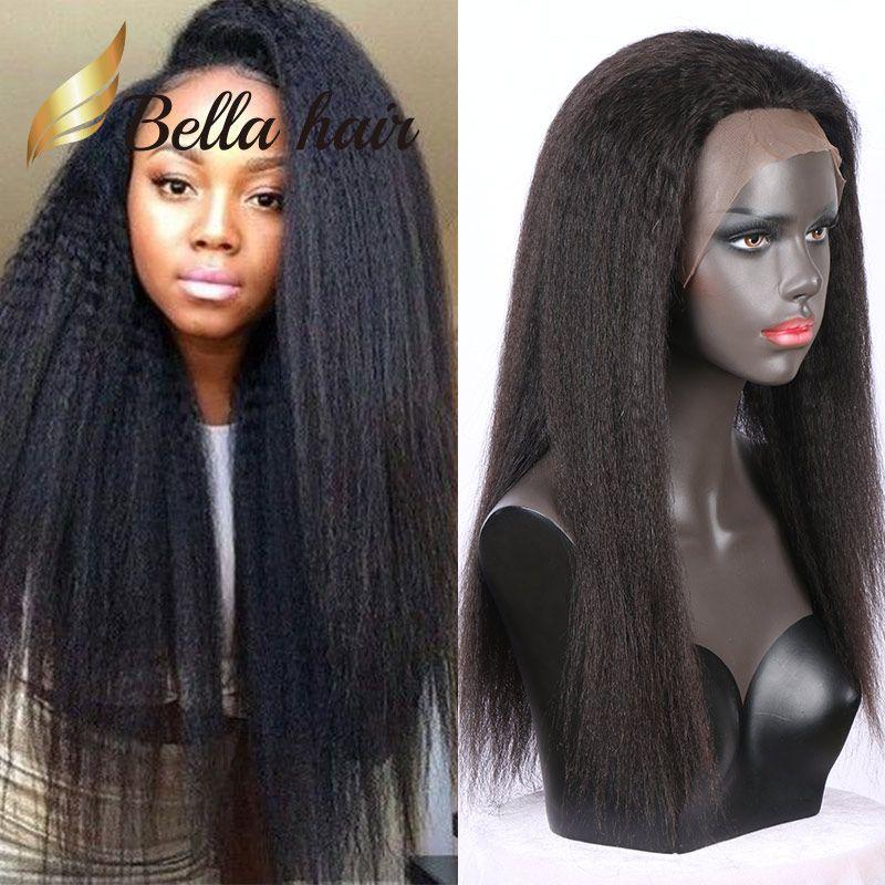 100% Brezilyalı İnsan Saç Siyah Kadınlar için Tam Dantel Peruk Doğal Renk Kinky Düz Brezilyalı Saç Dantel Peruk
