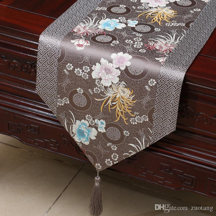 High Quality Patchwork Damask Jacquard Table Runner Simple Rectangle Tea  Table Cloth Dining Table Protective Pads Placemat 200x33 Cm Navy Table  Runners ...