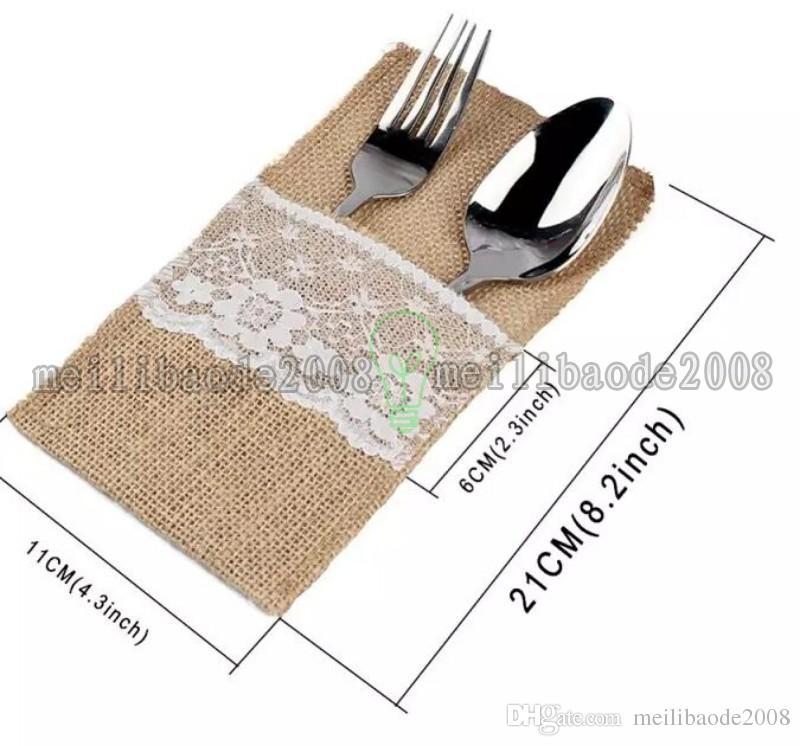 Vintage Shabby Chic Yute arpillera vajilla de encaje tenedor cuchillo arpillera tenedor cubiertos bolsillo boda decoración de la mesa MYY