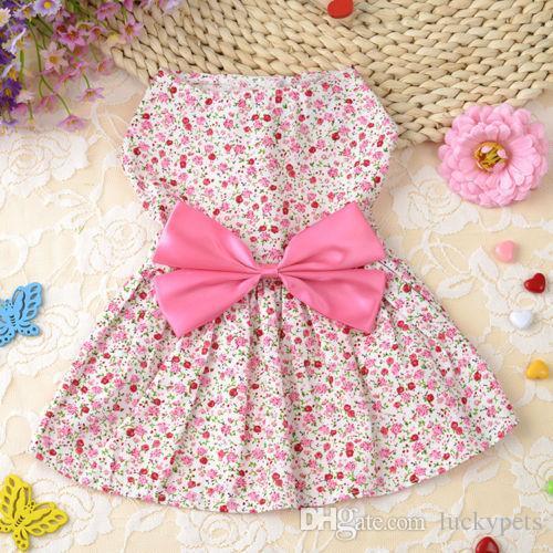 Lovely Small Pet Dog Dress Tutu Skirt Coat Cat Puppy Cute Little Flower Clothes Apparel Clothing Blue Pink