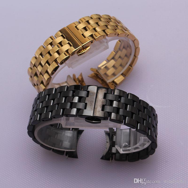 054f9aeae247 16mm 18mm 20mm 22mm 24mm Silver Gold Stainless Steel Metal Strap ...
