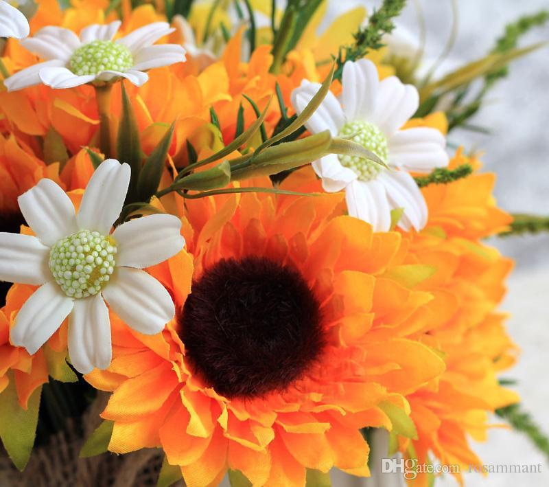 2019 해바라기 인공 실크 꽃 웨딩 부케 외부 신부 들러리 결혼식 꽃다발 꽃다발 드 Mariage