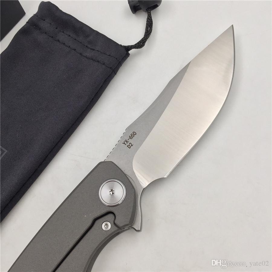Spedizione gratuita, YX-650 originale spedizione gratuita sabbiatura grigio antiscivolo maniglia in titanio coltello D-2 coltello caccia sopravvivenza esterna coltello da tasca EDC