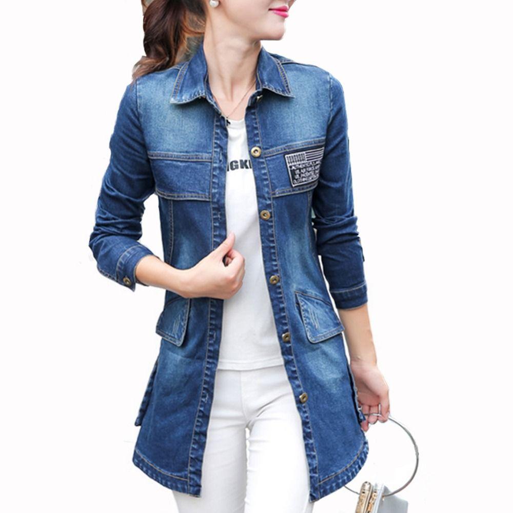 a2ec20170 Korean Style Women Spring Autumn Long Sleeve Pocket Slim Casual Loose Jean  Jacket Coat Blusa Femme Oversized Peplum Denim Jacket Biker Leather Jacket  ...