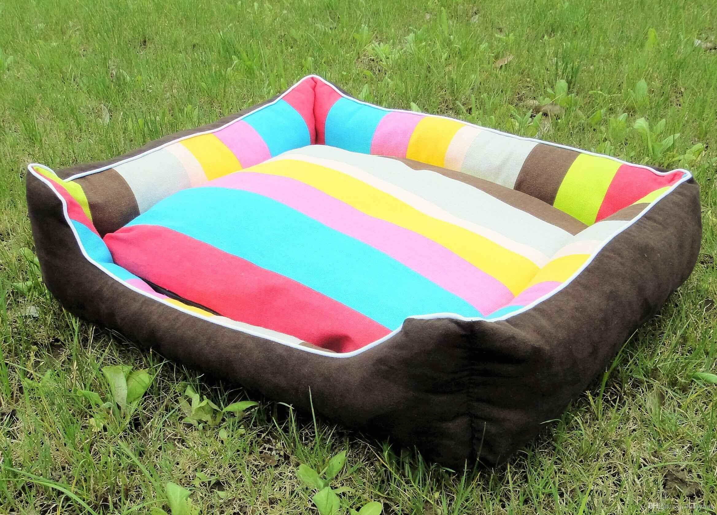 Lovely Rainbow Pet House Warm Good Quality Dog Cat House Kennel Soft Washable Pet Dog Cat Nest For Winter Coffee Color 4 Size Min Order