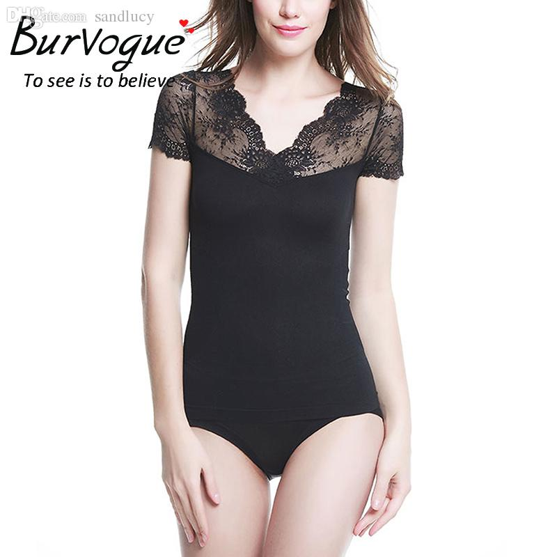 1f23640cb1a83 Wholesale-Burvogue Black Lace Body Shaper Tops for Women Slimming ...