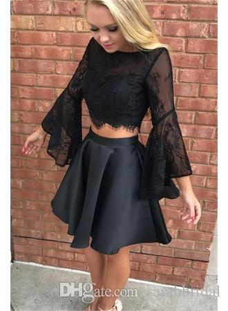 2019 Long Sleeves Charming Short Cocktail Dresses Backless Two Piece Scoop Neckline Modest Party Homecoming prom Dresses Custom Made Cheap