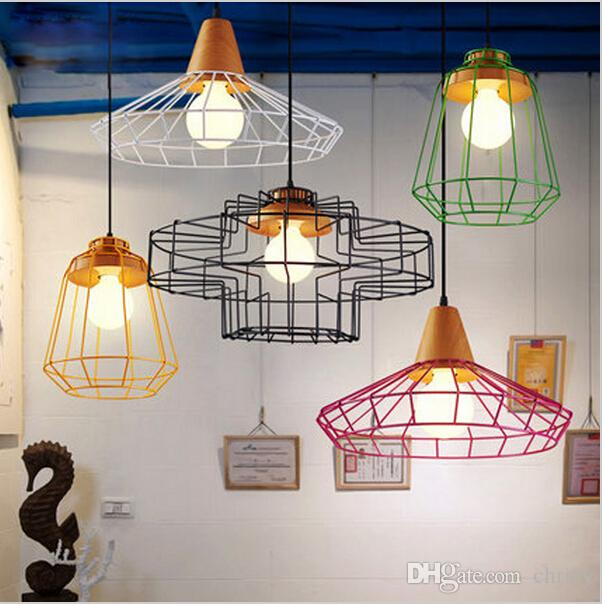 New Arrivals Colorful Birdcage Pendant Lamps Scandinavian Modern Minimalist Art Pyramid Iron Light Creative Restaurant Lights Kitchen
