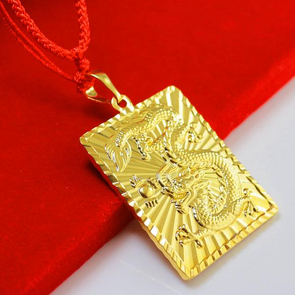 Wholesale dont rub off the gold necklace pendant 24k plated gold wholesale dont rub off the gold necklace pendant 24k plated gold zodiac dragon brand mens gold imitation 999 square large pendant amethyst pendant aloadofball Images