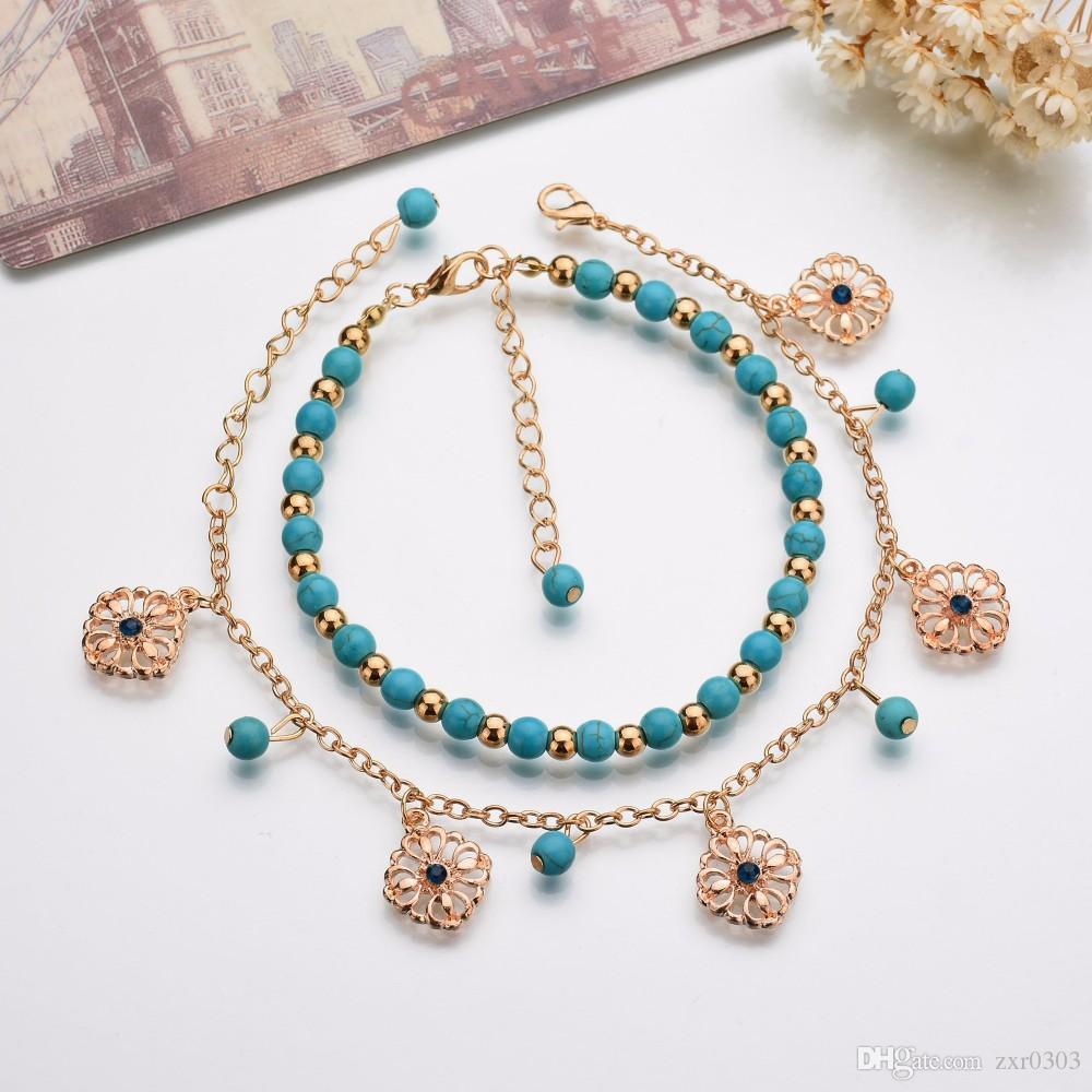 Повезло Каббала Фатима ножной браслет для женщин рука синие цветы ювелирные изделия ноги двойной бисер турецкий лодыжки браслет для женщин ножной браслет
