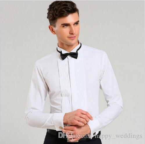 81ae299fe7cd1 2018 Top Fashion Men Dress Shirt Brand Wedding Long Sleeve Formal Shirt  Cotton Slim Fit Plus Size XXL Black Tuxedo Shirts