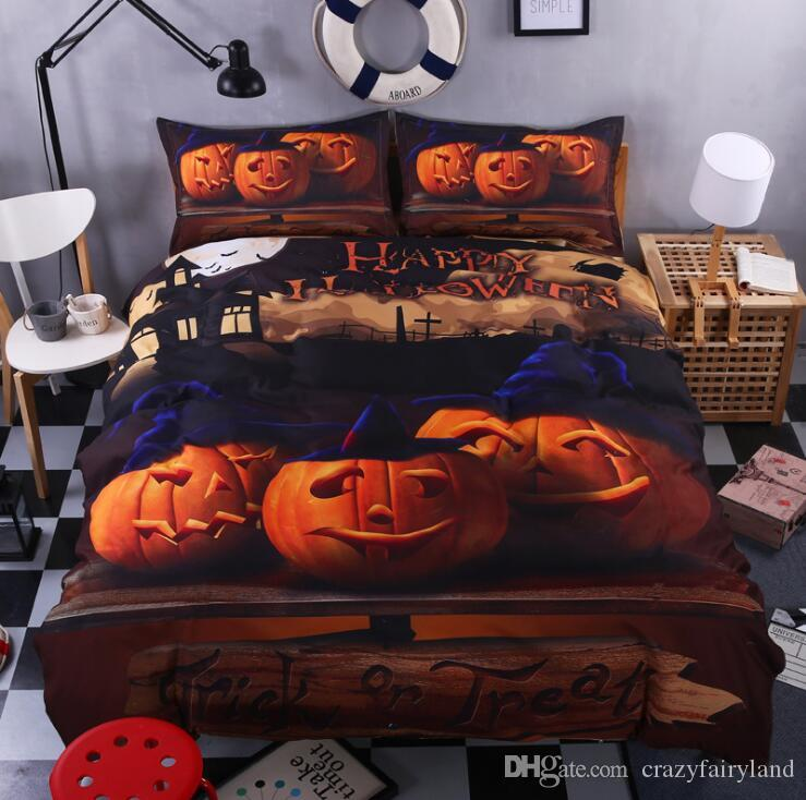 3d Print Bedlclothes Mischievous Halloween Pumpkin Bedroom