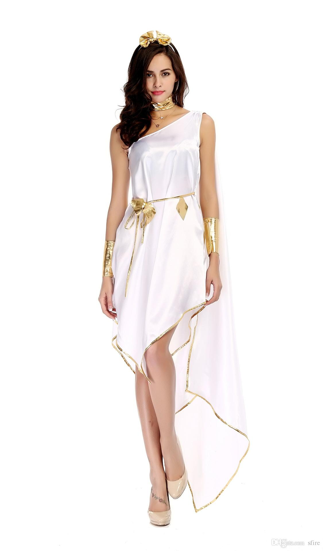 White Black Greek Goddess Cosplay Long Dress One Shoulder Open Chest Sexy Night Party Clothing Adult Women