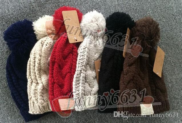 5484fbc95ead MOQ = 10 UNIDS Otoño / invierno marca diseño cálido sombrero mujer y hombre  sombrero moda gorro de lana de punto 8 colores negro rojo envío gratis ...