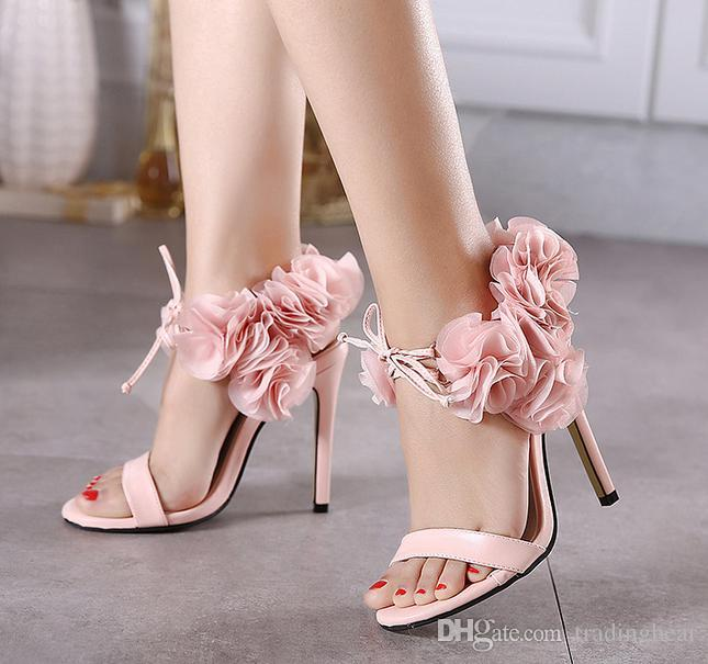 11cm Adorable Light Pink Flower High Heel Sandals Women Wedding Shoes Club  Party Evening Size 35 To 40 Slip On Shoes Mens Loafers From Tradingbear, ...