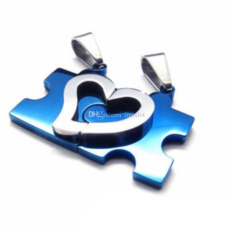 Brand New Stainless Steel Mens Womens Couple Necklace Pendant Love Heart Puzzle Matching [JN06236*4]