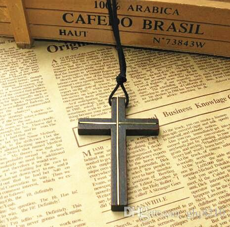 Inlaid copper wooden cross pendant necklace vintage leather cord sweater chain men women jewelry handmade stylish Christian Jesus