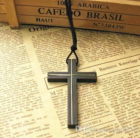 Pendentif croix en bois de cuivre incrusté collier en cuir vintage chaîne de chandail hommes femmes bijoux fait à la main élégant chrétien Jésus