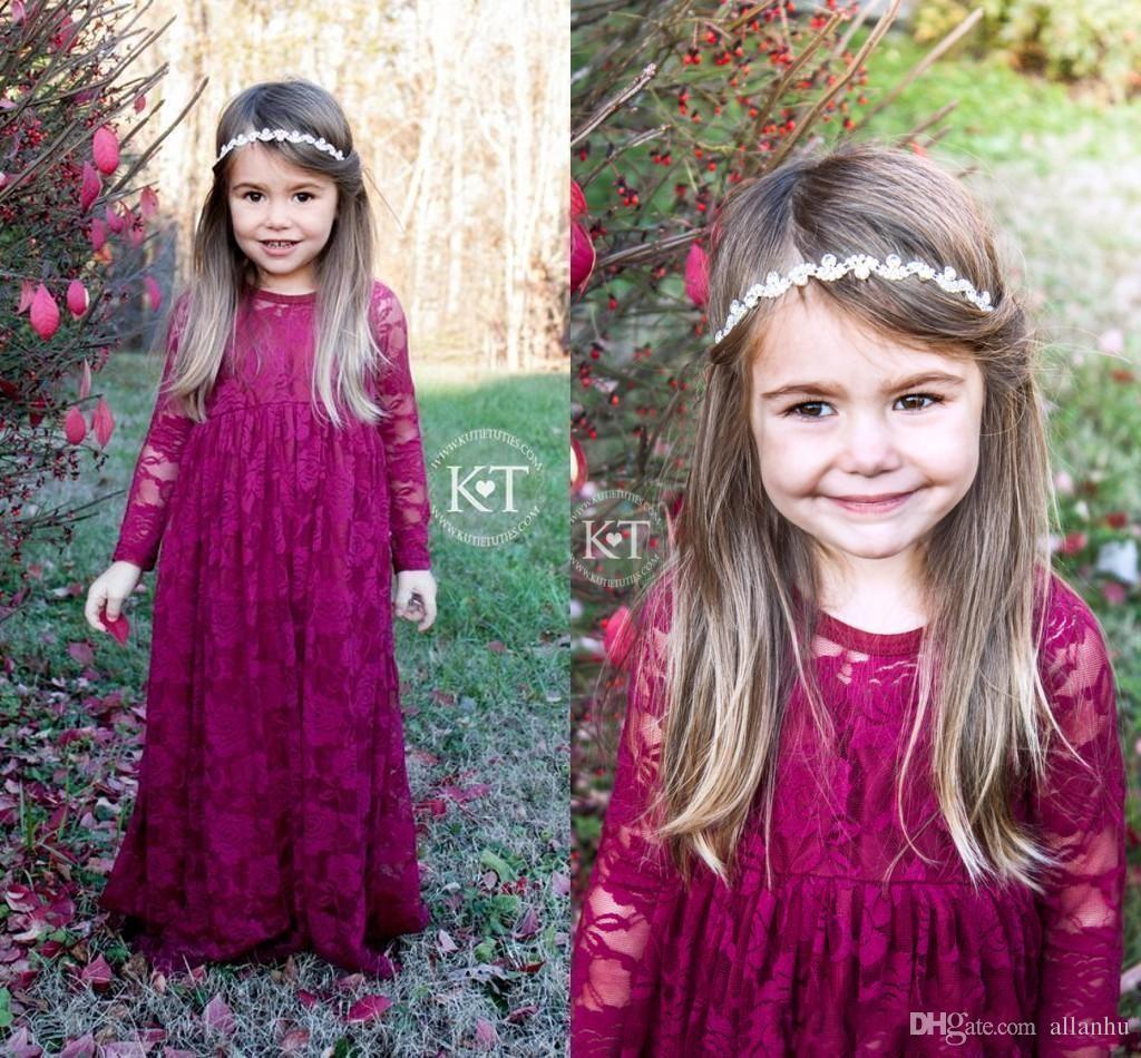2017 Lovley Vintage Wine Red Long Flower Girls' Dresses Girl's Pageant Dresses Lace Long Sleeves Boho Formal Dresses For Little Girls