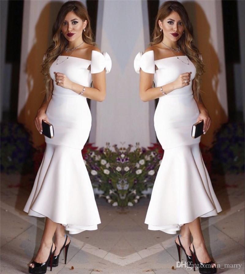 Großhandel Sexy Weißer Tee Länge Arabisch Cocktailkleider 2017 ...