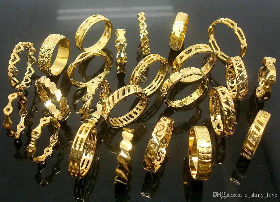 / 아름다운 고품질 비 페이딩 24K 진짜 금 도금 보석 반지를 섞어 무료 배송