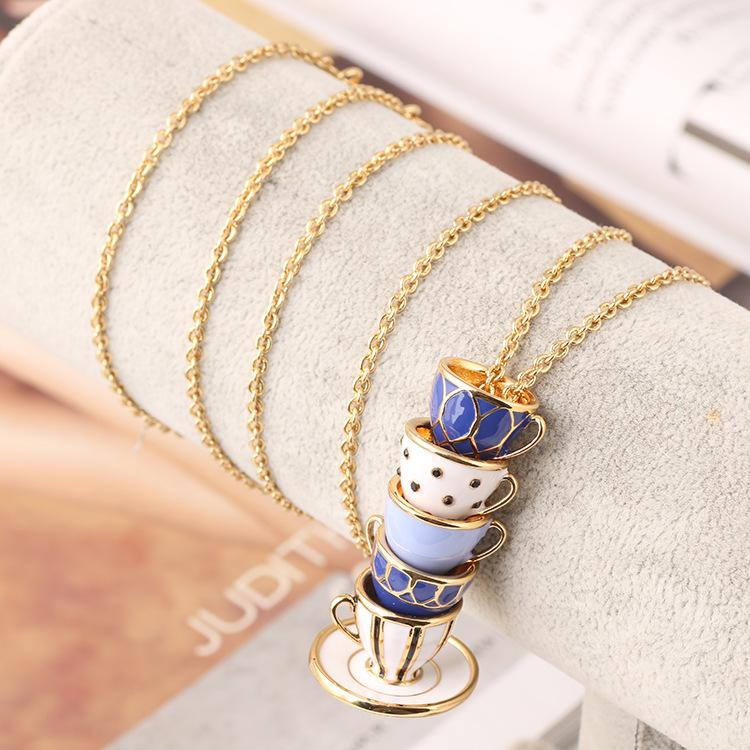 Top quality Brass Material Enameled cups pendant necklace brand name necklace in 88cm length women jewelry gift wedding PS5080