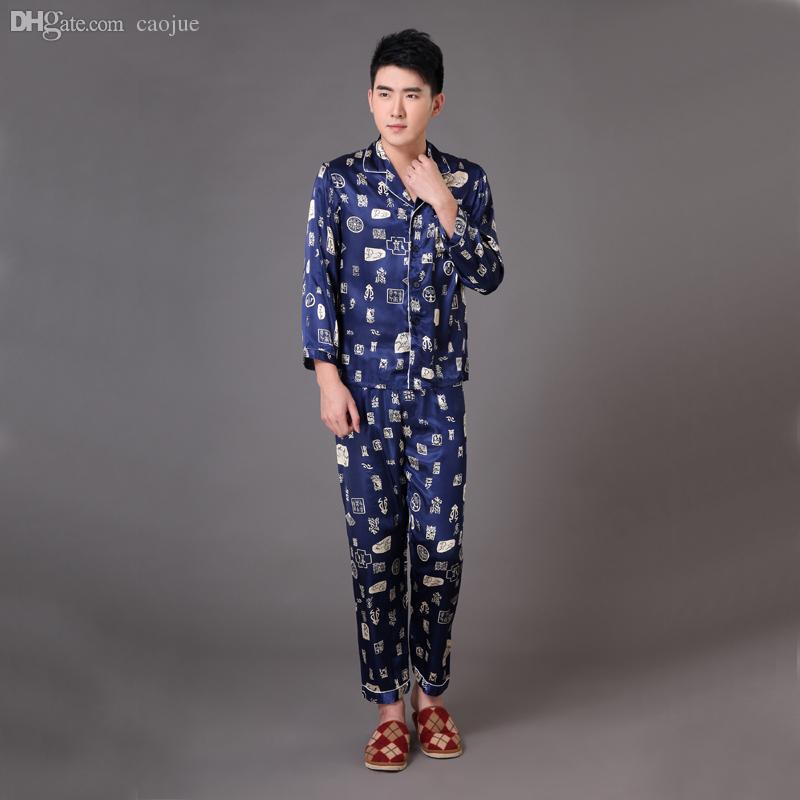 823eec21ca 2019 Wholesale Navy Blue Chinese Men S Silk Satin Sleepwear Male Long  Sleeve Pajamas Set Loungewear Robe Pyjamas Suit S M L XL XXL XXXL MP027  From Caojue