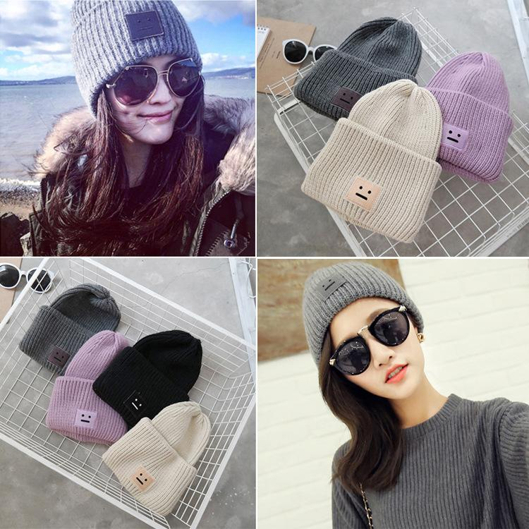 61270be3668 2016 New Arrival Fashion Female Casual Autumn Winter Smile Hat ...