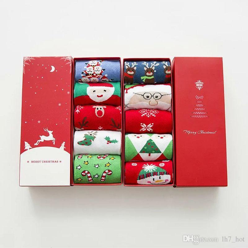 High Quality Women Red Socks Cotton Christmas Stocking Gift Box Xmas ...