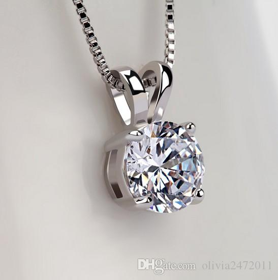 925 الفضة الاسترليني 30٪ الذهب الأبيض مطلي الكلاسيكية 2ct سوليتير الزركون قلوب السهام تشيكوسلوفاكيا قلادة قلادة tm